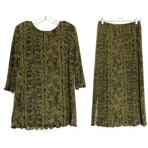 Nina Piccalino (8) VINTAGE Gold Skirt Dress Set